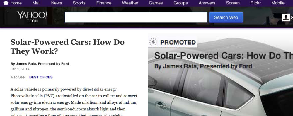 Yahoo promoted content