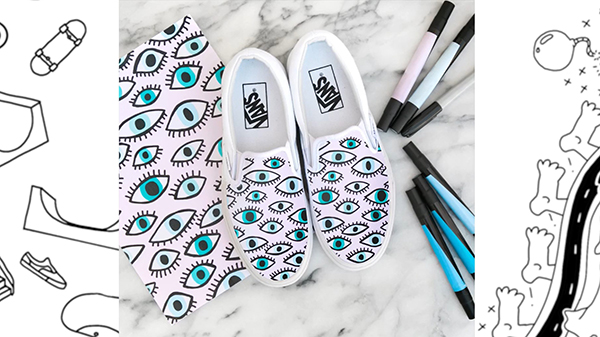 Pair of Vans, personalised with an eye pattern