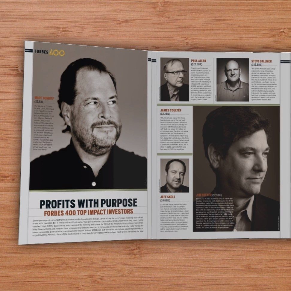 Magazine open to article titled 'Profits with purpose'