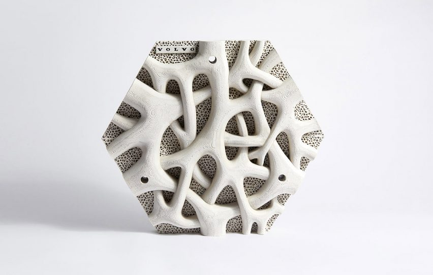 Concrete hexagonal tile with mangrove design
