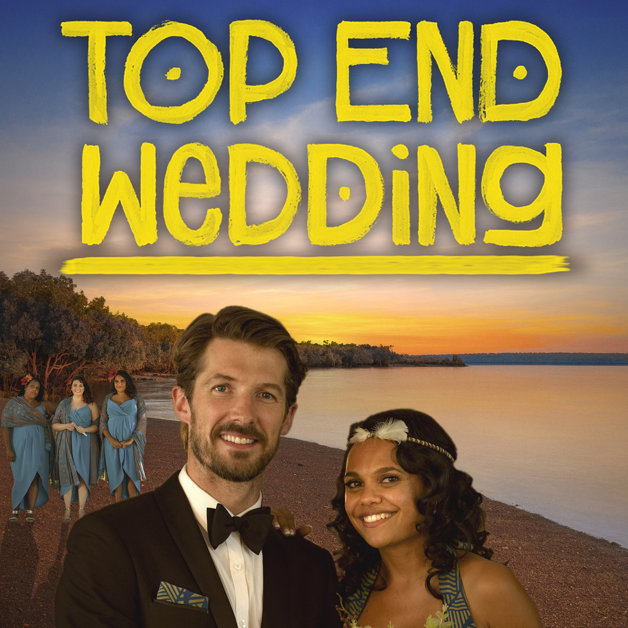 Man and woman in formalwear on a beach, captioned 'Top End Wedding'