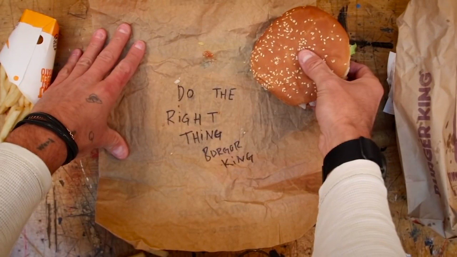 Do the right thing, written inside burger packaging