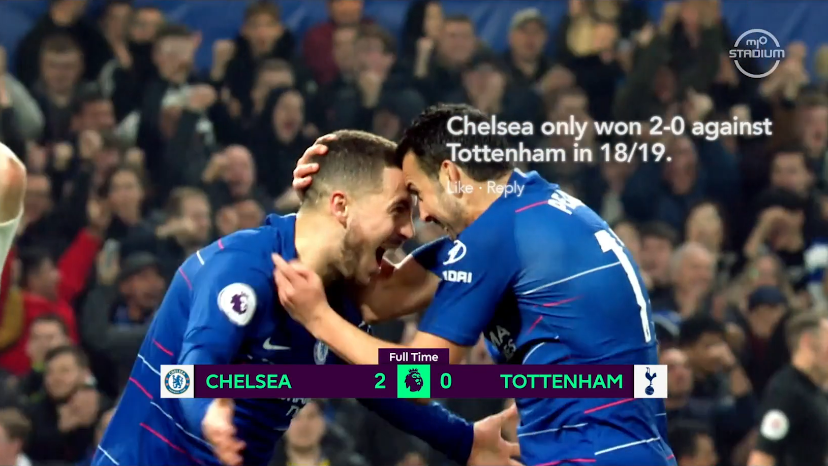Two Chelsea FC players celebrating with caption 'Chelsea only won 2-0 against Tottenham in 18/19'