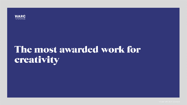 The most awarded work for creativity